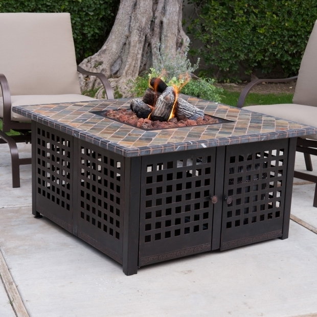Image of Blue Rhino Gas Fire Pit Uniflame Hand Crafted Tile Lp Gas Fire Pit With Free Cover Fire