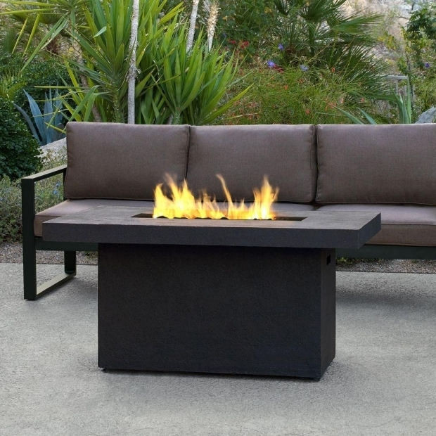 Stunning Rectangular Gas Fire Pit Table Real Flame Ventura 50 In Fiber Concret Rectangle Chat Height