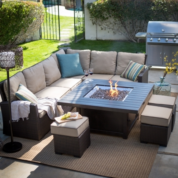 Stylish Fire Pit Conversation Sets Belham Living Marcella Wicker Sectional With Bozeman Fire Table