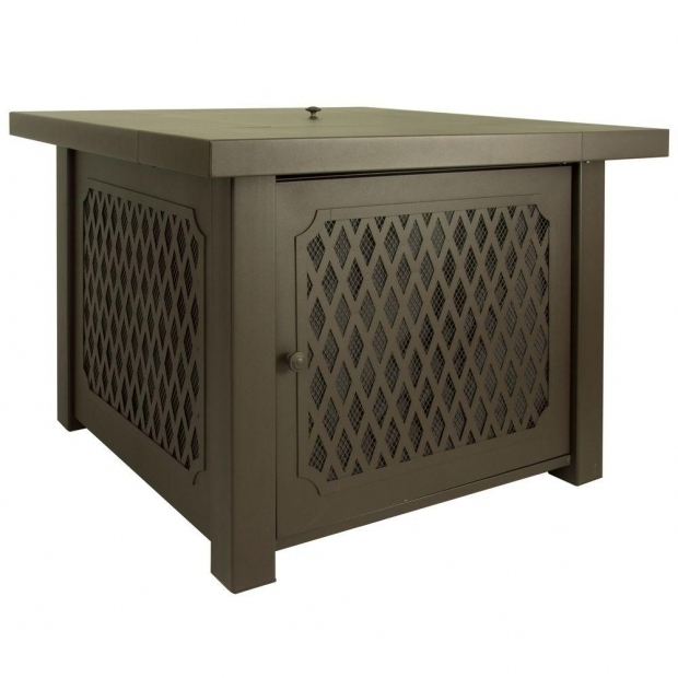 Stylish Rectangular Gas Fire Pit Table Pleasant Hearth Huxley 38 In Lattice Gas Fire Pit Table In Bronze