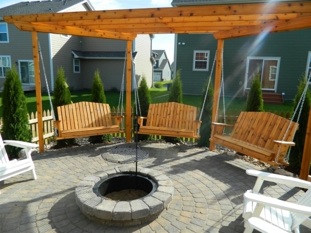 Delightful Fire Pit With Swings Porch Swings Fire Pit Circle Porch Swings Patio Swings