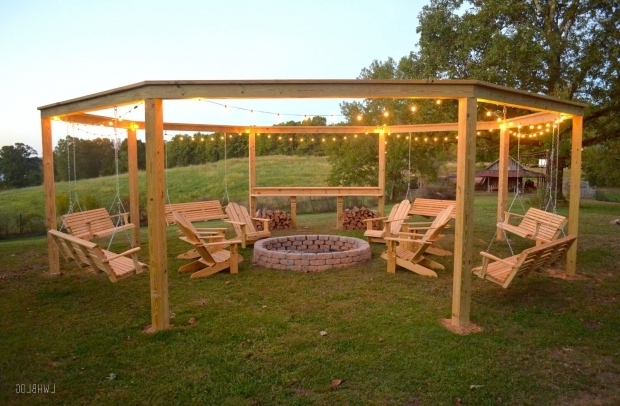 Delightful Fire Pit With Swings Remodelaholic Tutorial Build An Amazing Diy Pergola And Firepit