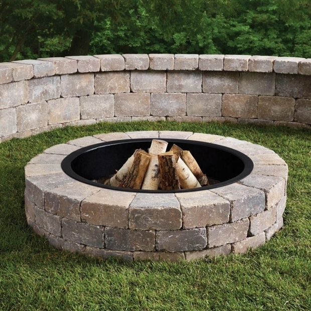 Gorgeous Fire Pit Liner Anchor Fresco 52 In X 12 In Northwoods Tan Concrete Fire Pit Kit