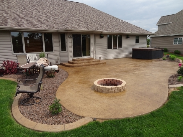 Stamped Concrete Patio With Fire Pit Ideas