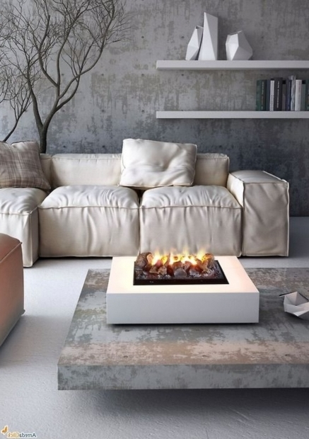 Amazing Indoor Fire Pit Coffee Table For Sectional Sofa With Decorative